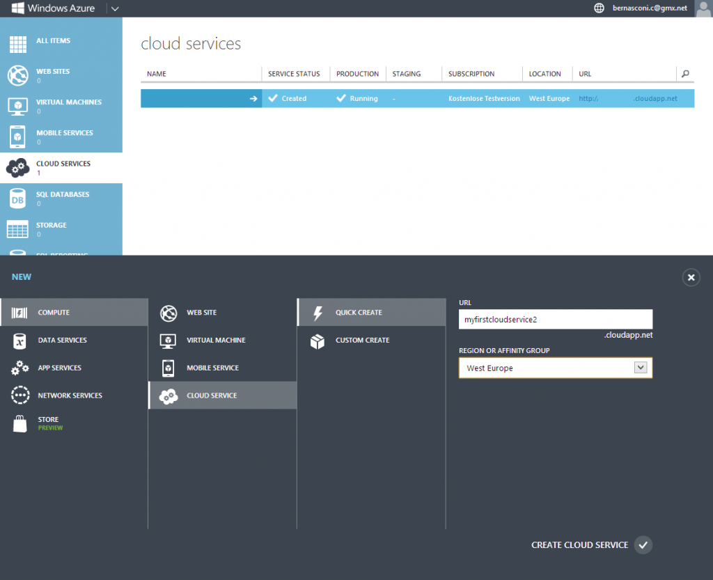 Windows Azure Portal